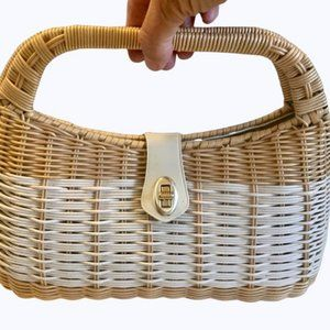 Vintage 1950's or 60's Wicker Handbag Two Tone